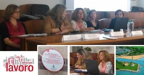 Un momento dell'incontro. Da sin.: Marta Fenza, Giorgia Tagliapietra, Annalisa Vegna, Loredana Bergo e Angela Marangon