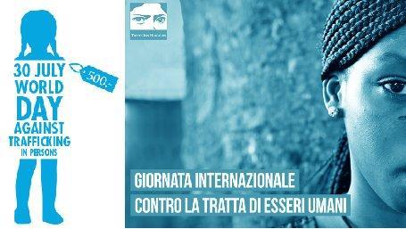 a sin. il logo Onu per la giornata mondiale contro la tratta