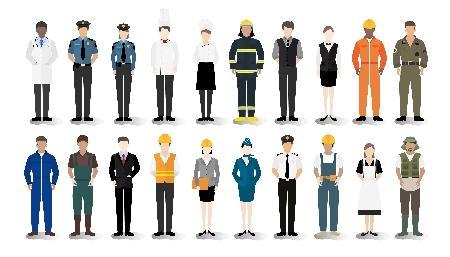 lavoratori e lavoratrici nelle diverse professioni (illustrazione Rawpixel per freepik.com)