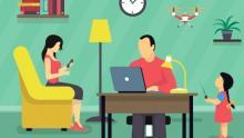 Lavoro agile in famiglia (da macrovector per freepik.com)