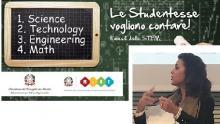 Il banner ministeriale del progetto STEM. In basso a destra Silvia Cavallarin